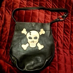 Luckygirl skull and crossbones leather bag